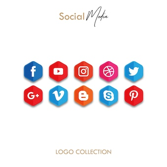 Polygone icône des médias sociaux populaires