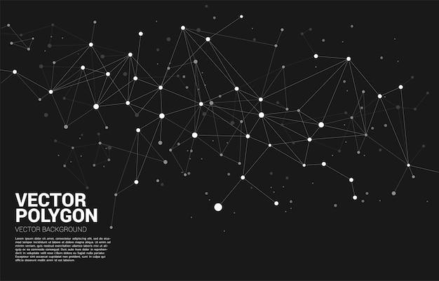 Polygone de points de connexion réseau. concept de technologie de réseautage et de style futuriste.