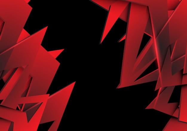 Polygone rouge chevauchent fond futuriste moderne design noir.