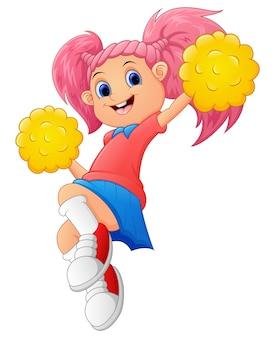 Pom-pom girl de dessin animé de fille