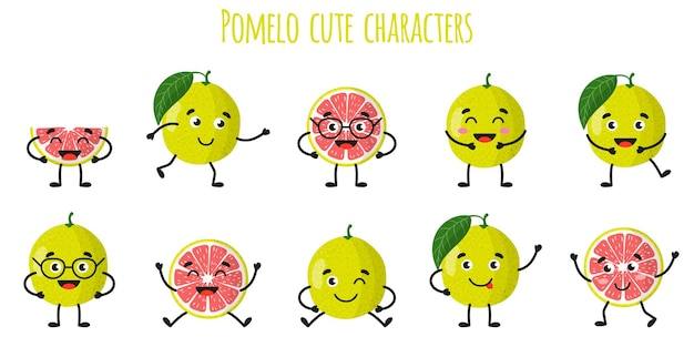 Pomelo agrumes mignons personnages gais drôles avec différentes poses et émotions. collection de nourriture de désintoxication antioxydante de vitamine naturelle. illustration isolée de dessin animé.