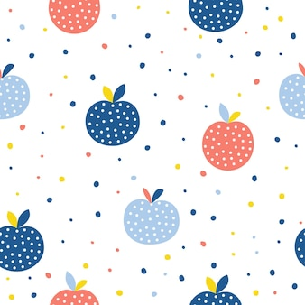 Pomme abstraite sans soudure de fond. artisanat enfantin fait à la main pour carte de design, menu de café, papier peint, album cadeau d'été, scrapbooking, papier d'emballage de vacances, tissu textile, impression de sac, t-shirt, etc.