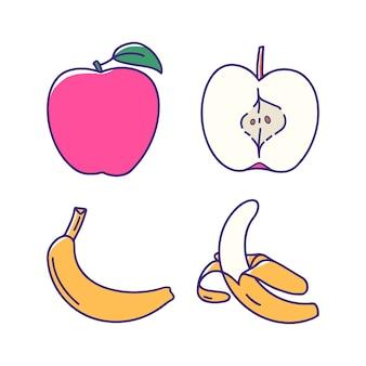 Pomme banane fruit dessiné à la main