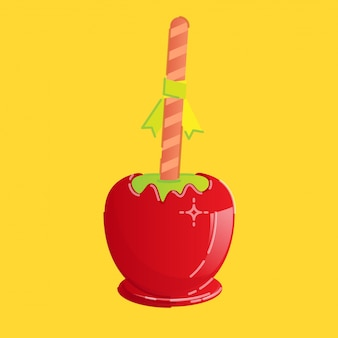 Pomme de bonbon sucrée rouge avec un bâtonnet rayé et un petit ruban