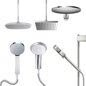 Pomme de douche. arroseur de salle de bain chrome vecteur réaliste forme et taille différentes.