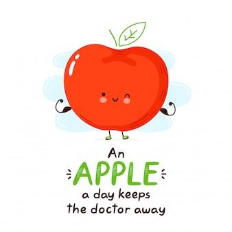 Pomme drôle heureuse mignon. personnage de dessin animé main dessin illustration de style. isolé sur fond blanc. une pomme par jour éloigne le médecin