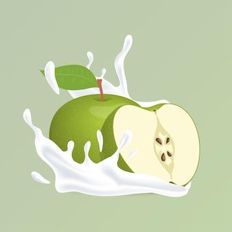 Pomme et éclaboussure de yogourt d'illustration de dessin animé liquide blanc bio