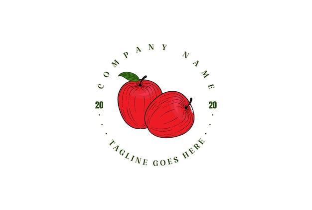 Pomme fraîche rétro vintage circulaire pour le cidre, le magasin de fruits ou la conception de logo d'étiquette de produit agricole