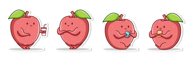 Pomme mignonne créative pose l'émotion de la honte lire un livre et manger