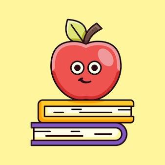 Pomme mignonne avec illustration de livre