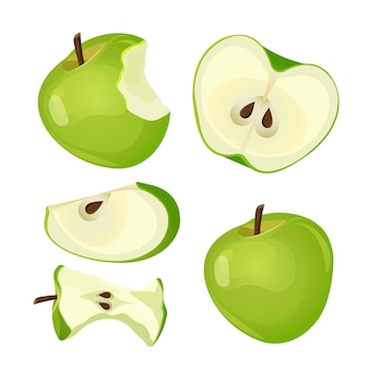 Pomme mordue, entière, moitié et tranche marque de fruit mordu aux graines noires