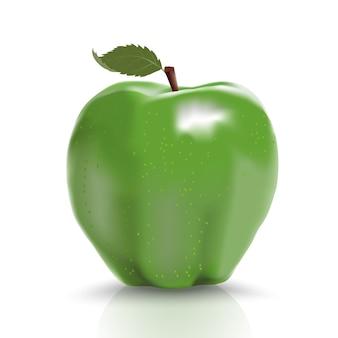 Pomme mûre verte isolée sur blanc