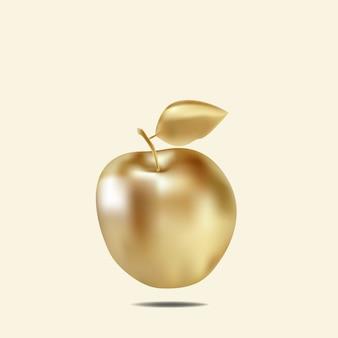 Pomme d'or réaliste avec feuille