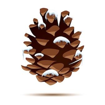 Pomme de pin avec chapeau de neige isolé sur blanc