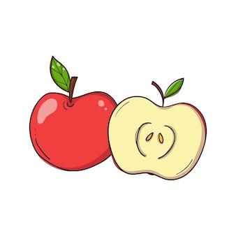 Pomme rouge dessinée à la main entière et fruits coupés sur fond blanc.