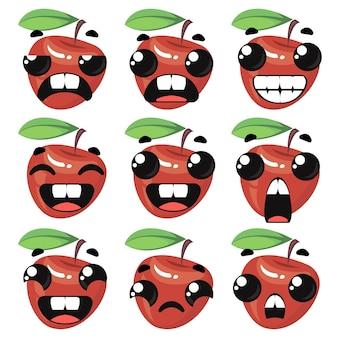 Pomme rouge avec différentes émotions jeu de caractères sur fond blanc illustration vectorielle