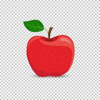 Pomme rouge sur fond transparent