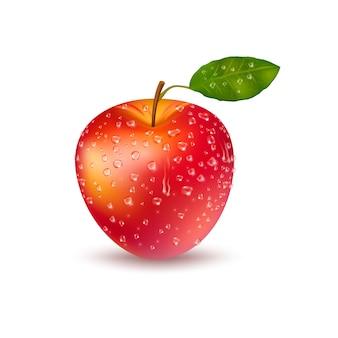 Pomme rouge fraîche réaliste avec des gouttes