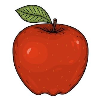 Pomme rouge isolé sur fond blanc.