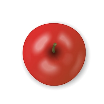 Pomme rouge isolée sur fond blanc. collation fraîche, concept d'alimentation saine. gros plan vector illustration 3d