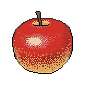 Pomme rouge pixel art sur fond blanc