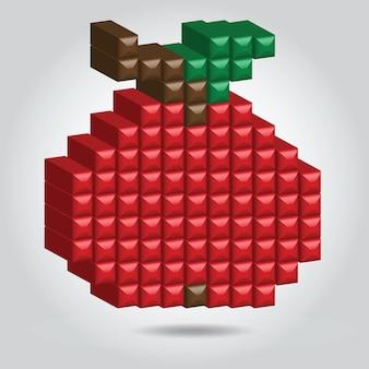 Pomme rouge en style pixel sur fond blanc