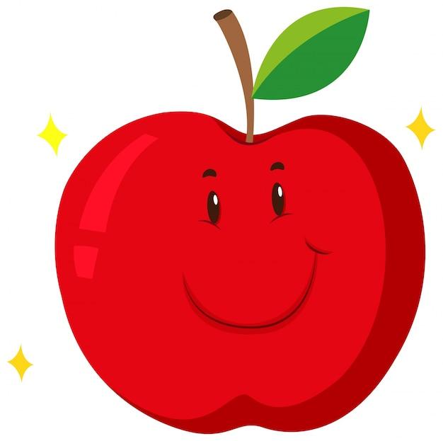 Pomme rouge avec un visage heureux