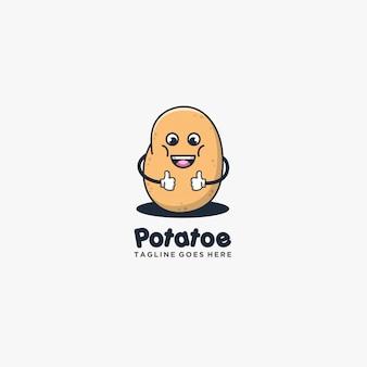 Pomme de terre bonne pose sourire illustration style mignon.