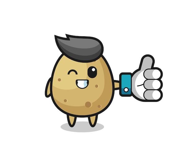 Pomme de terre mignonne avec le symbole du pouce levé des médias sociaux, design de style mignon pour t-shirt, autocollant, élément de logo