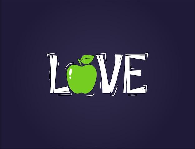 Pomme verte fraîche avec illustration de texte de citation d'amour