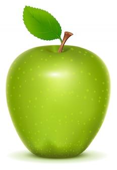 Pomme verte granny smith sur fond blanc