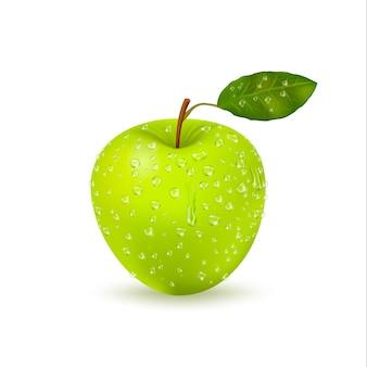 Pomme verte humide isolée avec des gouttes d'eau