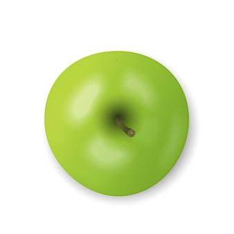 Pomme verte isolée sur fond blanc. collation fraîche, concept d'alimentation saine. gros plan vector illustration 3d, vue de dessus. ombres transparentes.