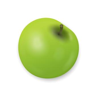 Pomme verte isolée sur fond blanc. collation fraîche, concept d'alimentation saine. gros plan vector illustration 3d