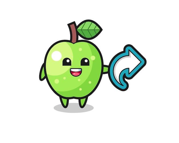 La pomme verte mignonne tient le symbole de partage de médias sociaux, conception de style mignon pour t-shirt, autocollant, élément de logo