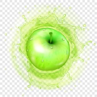 Pomme verte tombant dans le jus avec une couronne d'eau translucide. transparence uniquement en format vectoriel