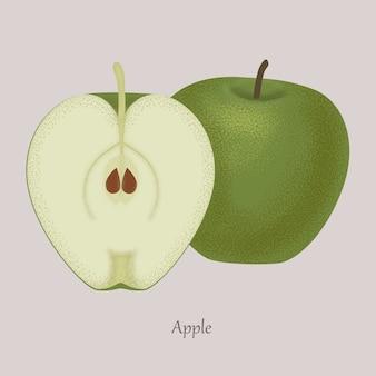 Pomme verte et tranche de pomme, icône isolé sur gris.