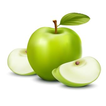 Pomme verte vecteur réaliste, en tranches.