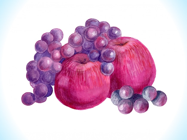 Pommes aquarelles, raisins. fruits d'art mûrs