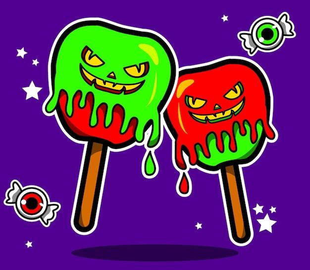 Pommes de bonbons d'halloween illustrées en vecteur