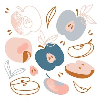 Pommes délicieux fruits doux jardin légumes nature dessinés à la main design plat dessin animé clip art