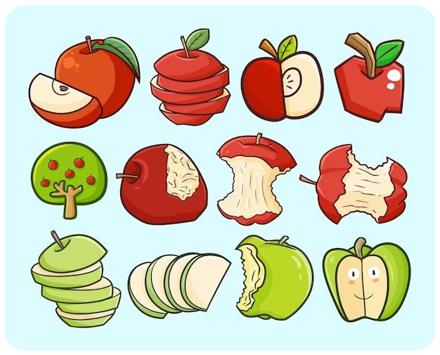 Pommes drôles dans un style simple de doodle de dessin animé