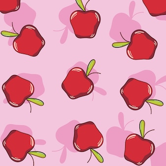 Pommes de fond motif dessins animés mignons vector illustration graphisme