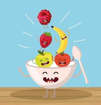Pommes heureuses avec coupe de fraises et mûres