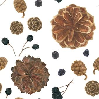 Pommes de pin et baies dans un champ de neige blanche, modèle sans couture aquarelle