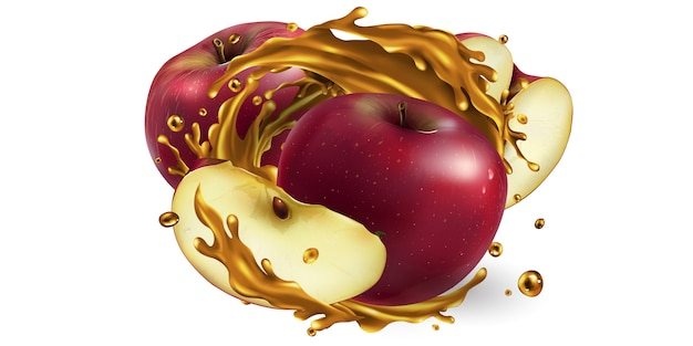 Pommes rouges entières et tranchées dans un jus de fruits.