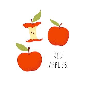 Pommes rouges, fruits mûrs.