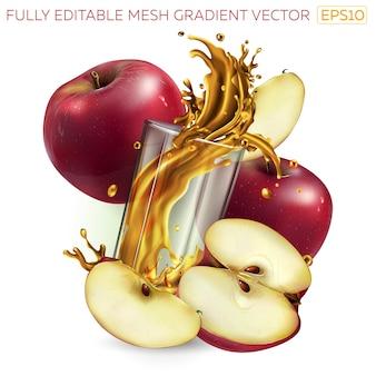 Pommes rouges et jus d'éclaboussures dans un verre.