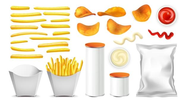 Pommes de terre frites, chips, emballages et sauce
