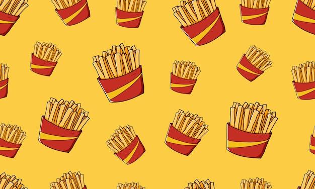 Pommes de terre frites frites junk food crunchy seamless pattern